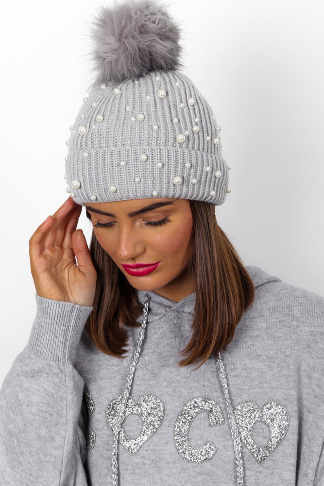 Mother Of Pearl - Light Grey Knitted Pom Pom Hat
