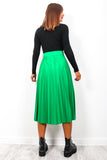 Move Your Pleat - Emerald Green Midi Skirt