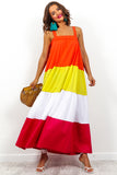 Multi Block Colour Tiered Maxi Dress DLSB Womens Fashion
