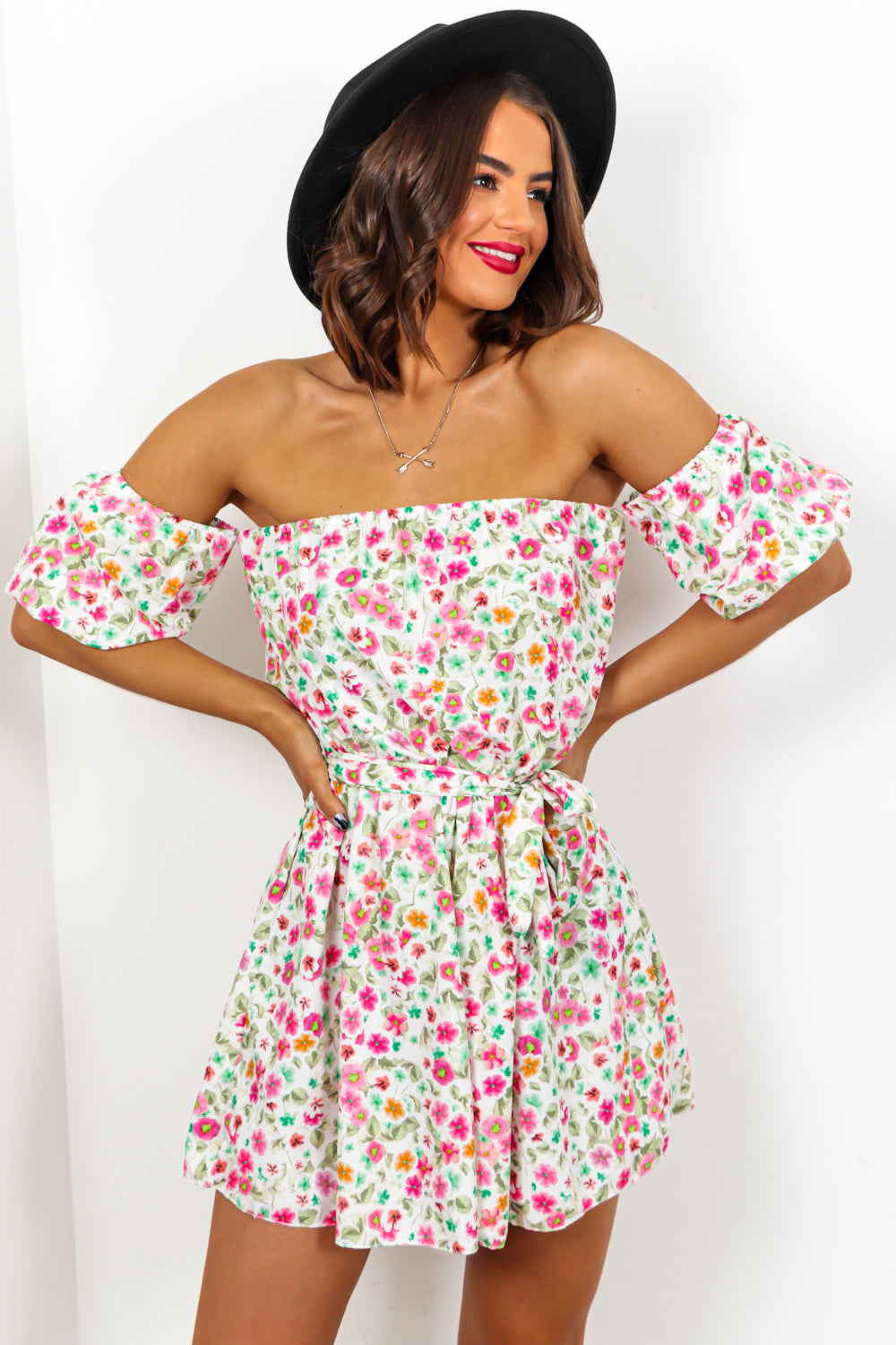 White Floral Print Off The Shoulder Playsuit DLSB Womens Fashion