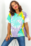 Lilac Mint Tie Dye T-Shirt DLSB Womens Fashion