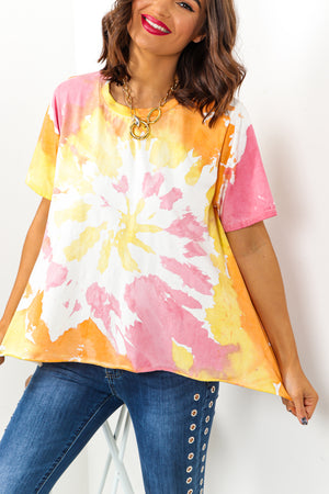 Pink Orange Tie Dye T-Shirt DLSB Womens Fashion