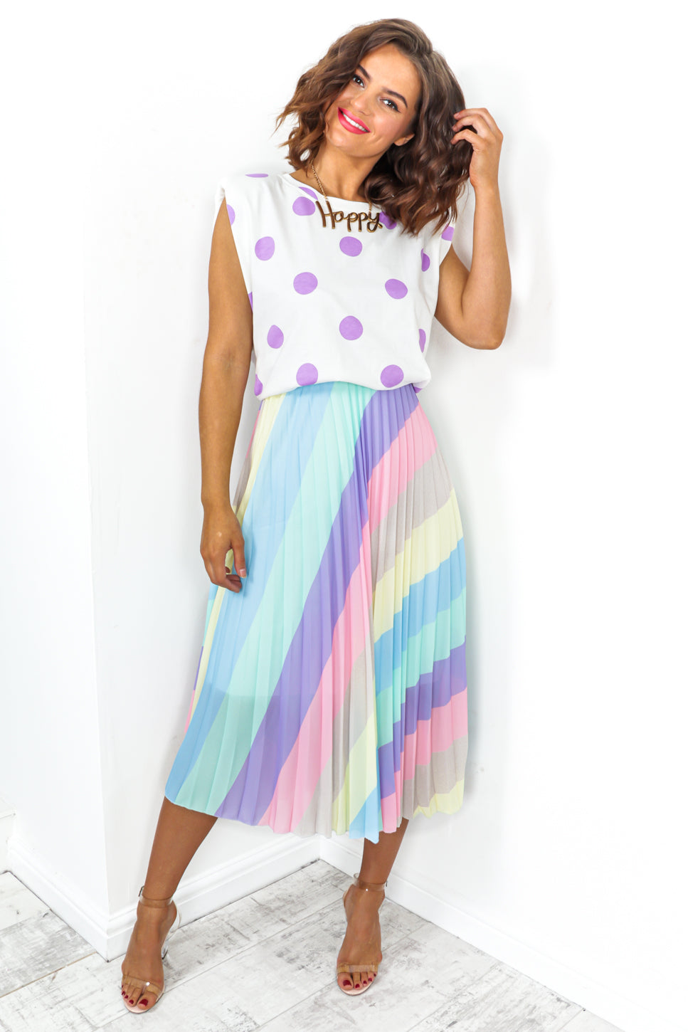 We'll Pleat Again - Skirt In PASTEL/STRIPE