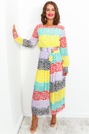 Multi Spot Print Wide Leg Jumpsuit