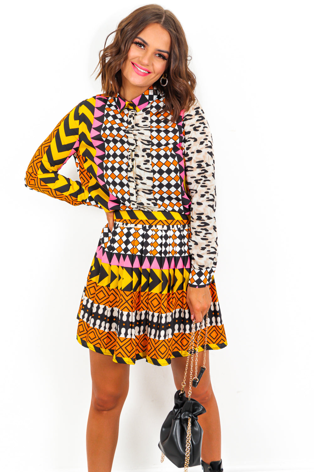 Aztec Co-ord Set Pleated Skirt Shirt- DLSB Womens Fashion