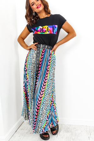 Multi Print Pleated Midi Skirt - DLSB Womens Fashion