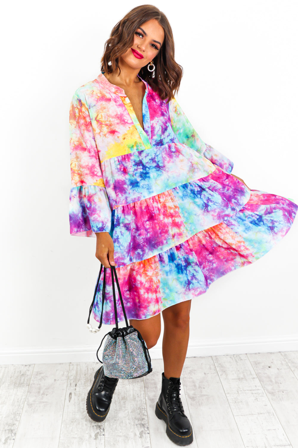 Multi Tie-Dye Smock Dress- DLSB Womens Fashion