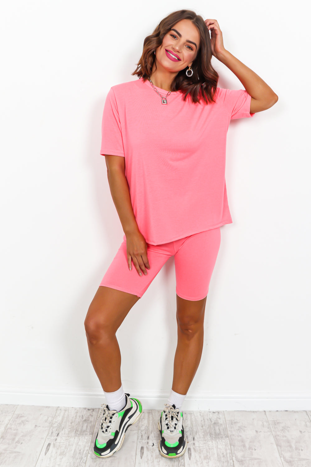Neon Pink Cycle Short And T-shirt Coordinate Set