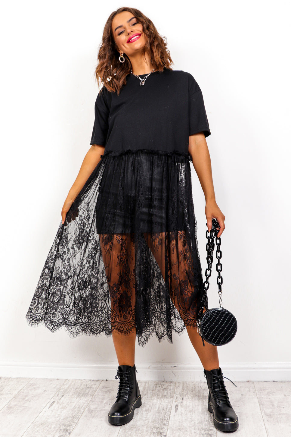 Never Too Lace - Black Lace Hem Top