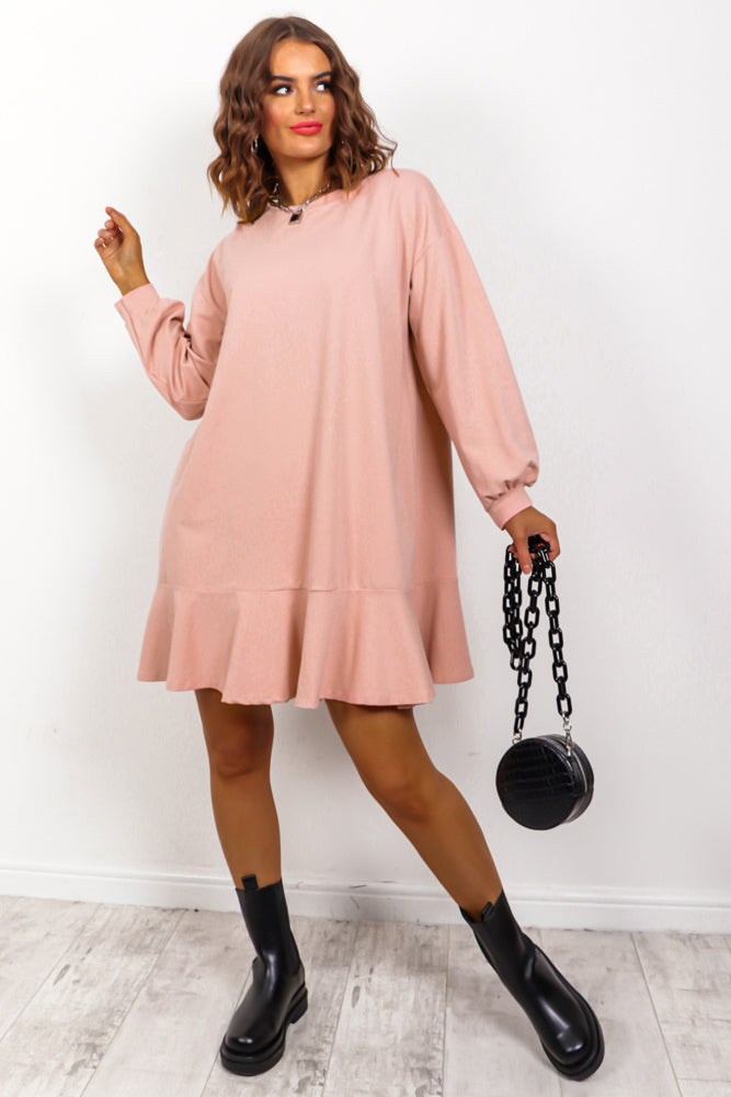 No Frills - Blush Frill Hem Jumper Dress