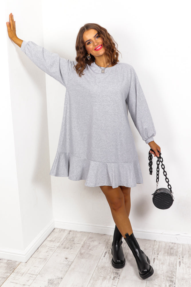 No Frills - Grey Frill Hem Jumper Dress
