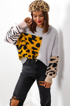 No Hard Felines - Grey Knitted Jumper