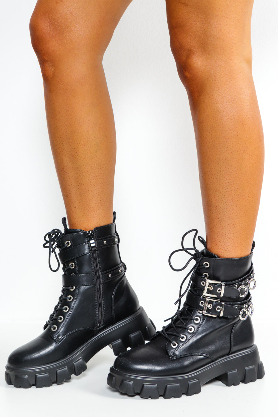 No Such Ring - Black Chunky Lace Up Boots