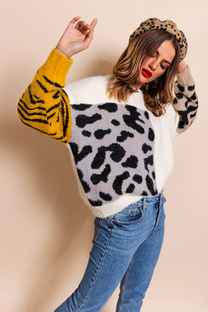 No Hard Felines - Cream Knitted Jumper