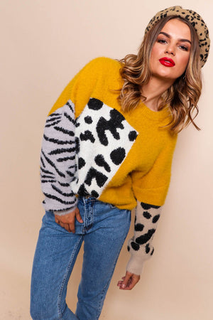 No Hard Felines - Mustard Knitted Jumper