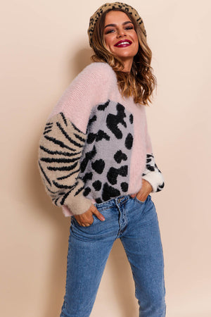 No Hard Felines - Pink Knitted Jumper