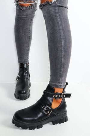 Not Cut-Out For This - Black Double Strap Boots