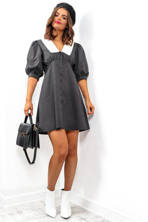 Not So Sweet - Black White Dot Mini Dress
