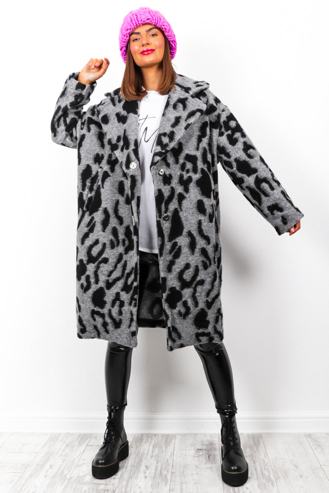 Not So Tamed - Grey Black Leopard Coat