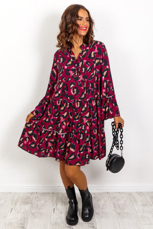 Not Too Wild - Wine Leopard Print Smock Dress