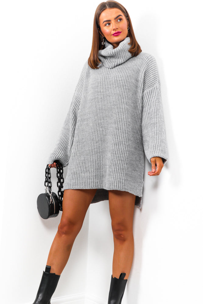 Not Your Girl - Grey Roll Neck Knitted Jumper
