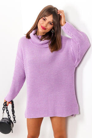 Not Your Girl - Lilac Roll Neck Knitted Jumper