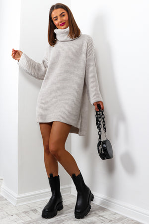 Not Your Girl - Oatmeal Roll Neck Knitted Jumper