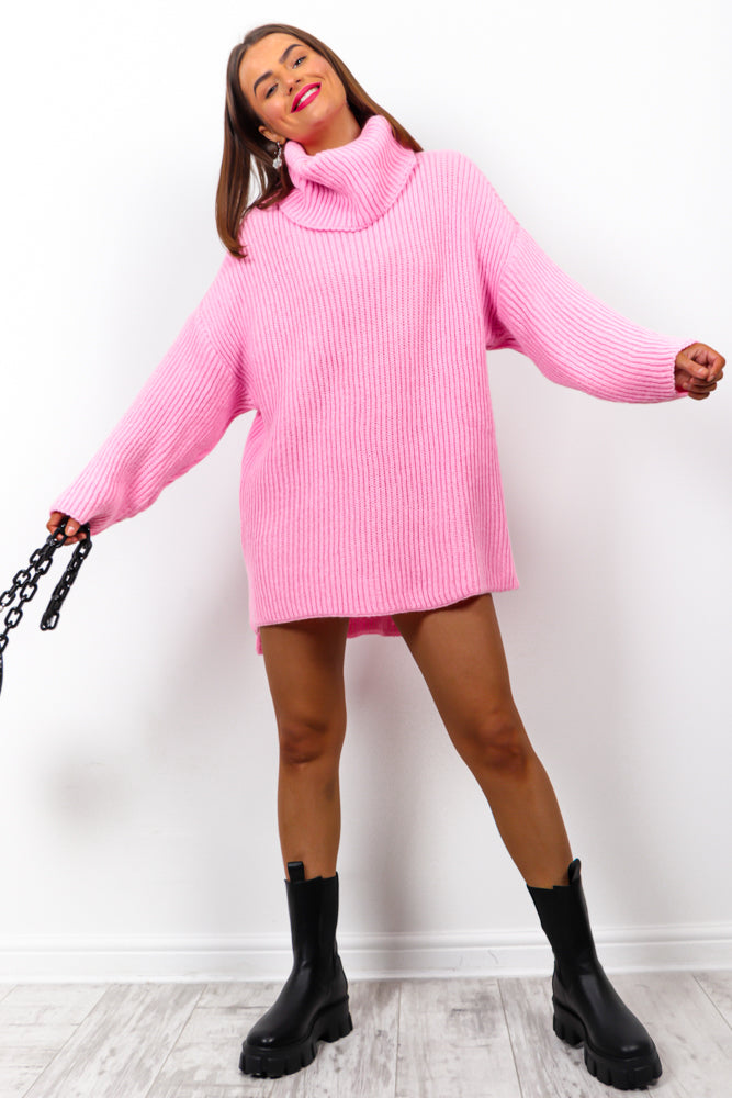 Not Your Girl - Pink Roll Neck Knitted Jumper