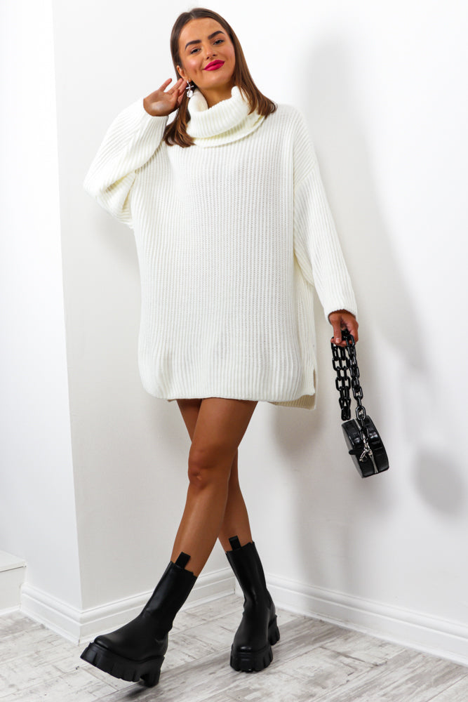 Not Your Girl - White Roll Neck Knitted Jumper