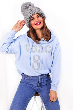 Nothing But Coco - Blue Embellished Hoodie