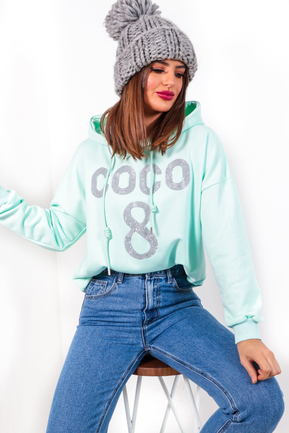 Nothing But Coco - Mint Embellished Hoodie