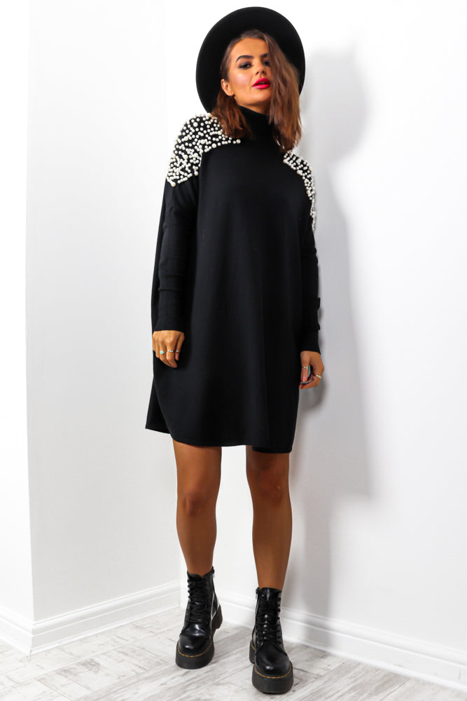 Number One Pearl - Black Knitted Jumper Dress