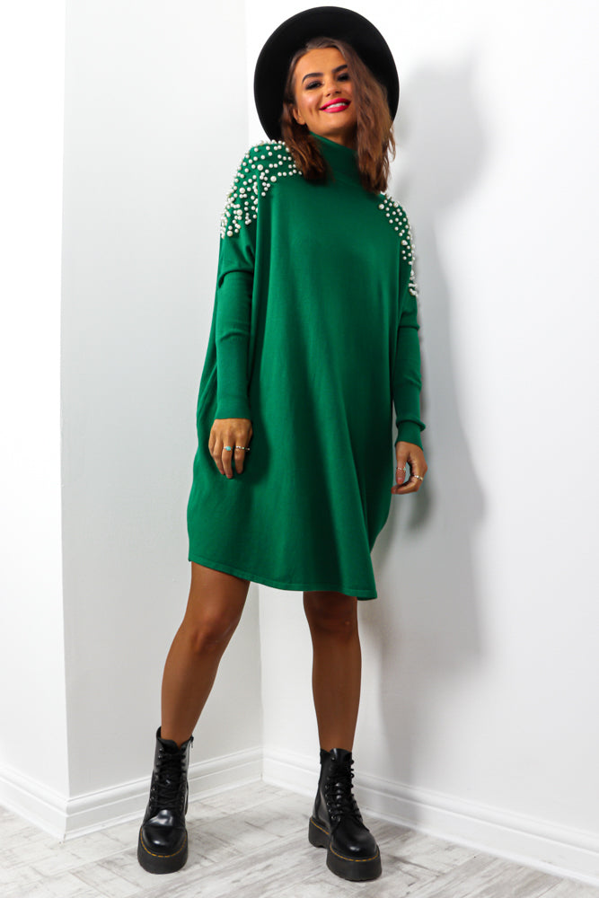 Number One Pearl - Green Knitted Jumper Dress