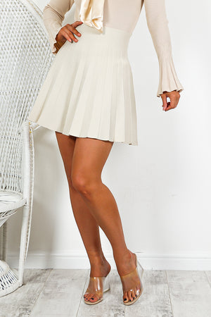 Oatmeal Pleated Mini Skirt