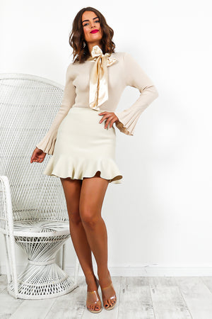 Oatmeal Peplum Frill Hem Mini Skirt