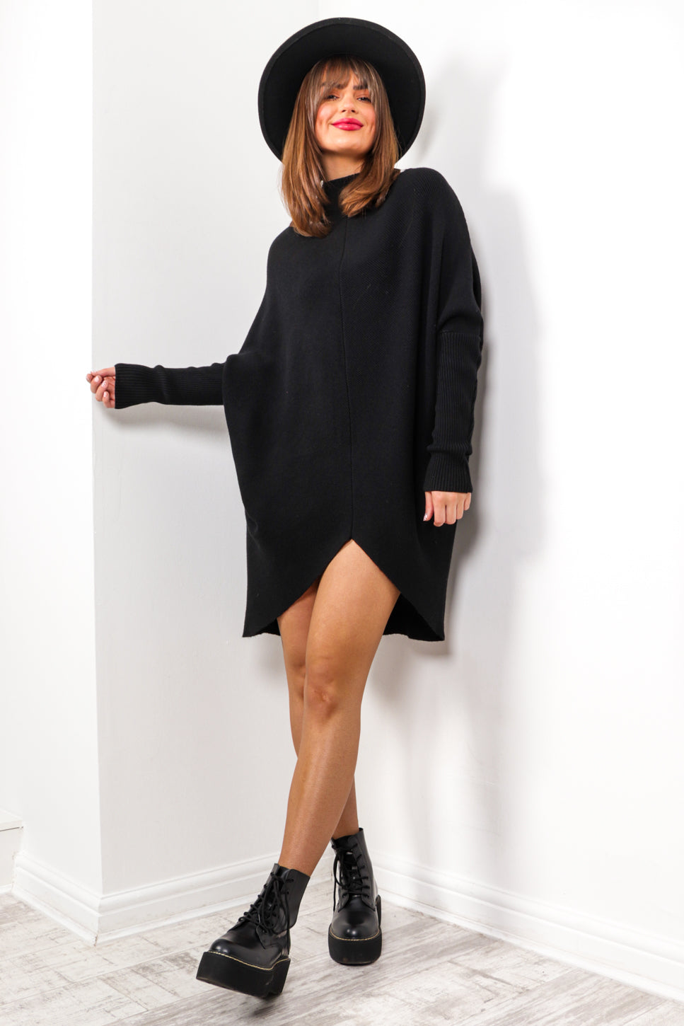Oh So Plain - Black Knitted Jumper Dress