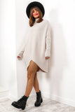 Oh So Plain - Oatmeal Knitted Jumper Dress
