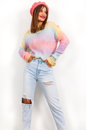 Ombre Kisses - Multi Pastel Gold Button Jumper