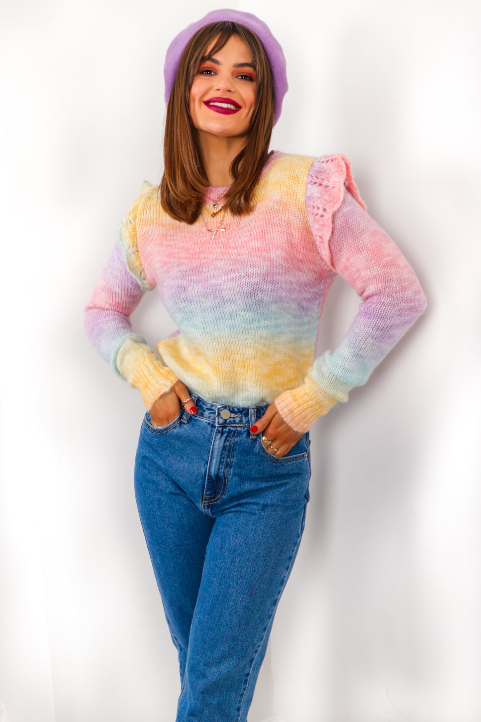 Ombre Paradise - Multi Pastel Frill Knitted Jumper