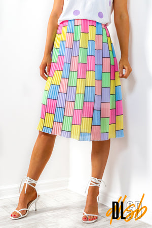 One Day At A Line - Multi Square Midi Skirt