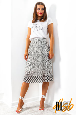 One Day At A Line - White Black Dot Midi Skirt