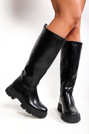 One Way Or Another - Black Pu Calf Boot