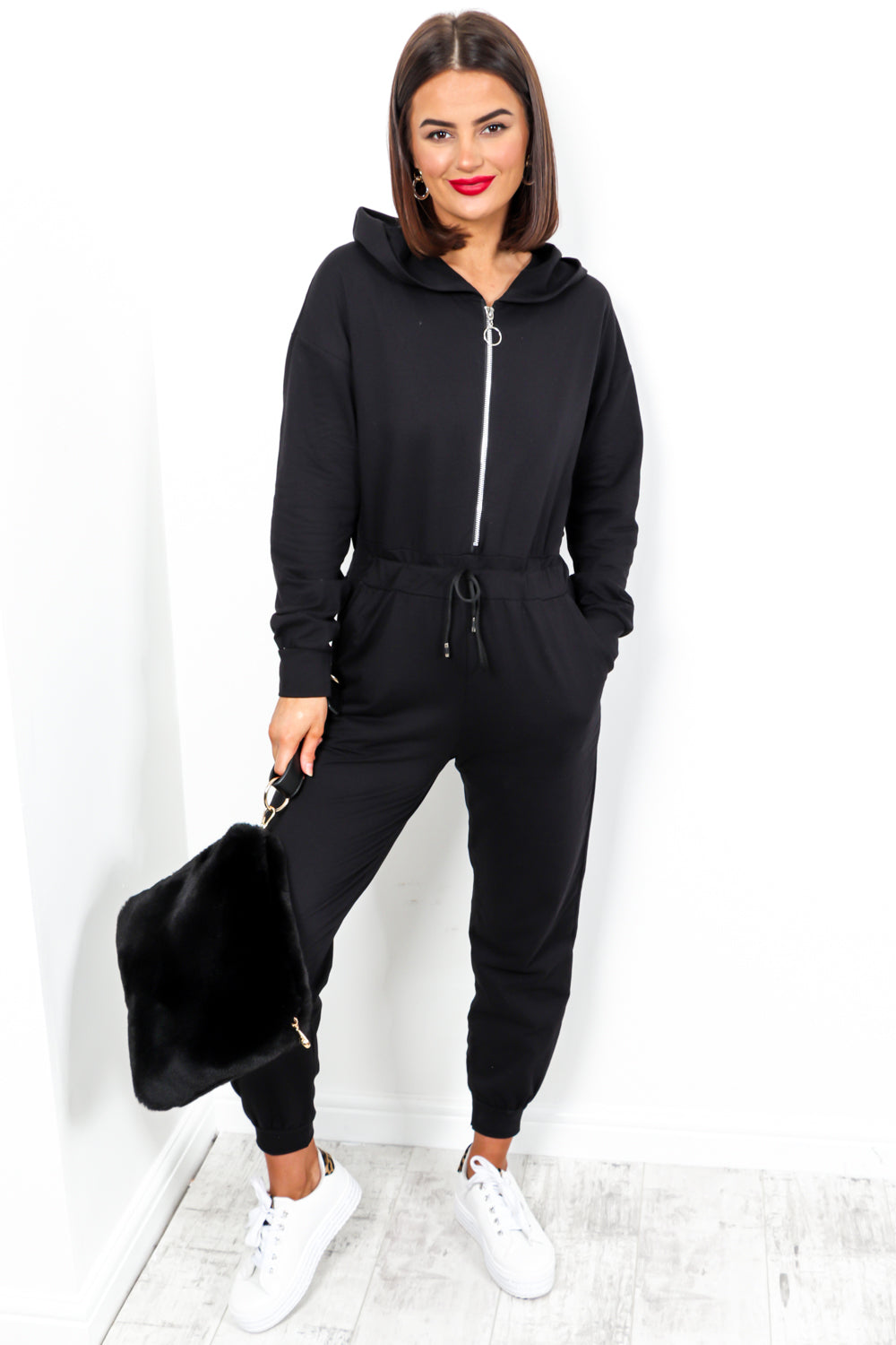 One Shot - Black Zip Front Casual Jumpsuit
