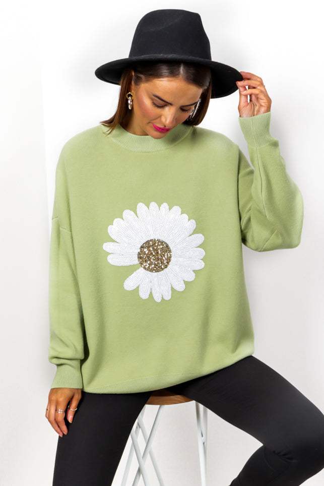 Oops A Daisy - Green Sequin Knitted Jumper