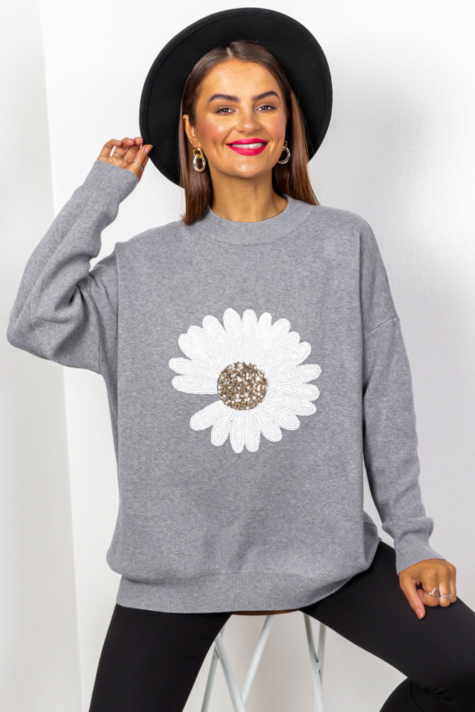 Oops A Daisy - Grey Sequin Knitted Jumper