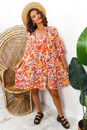 Orange Floral Print Midi Smock Dress DLSB Womens Fashion