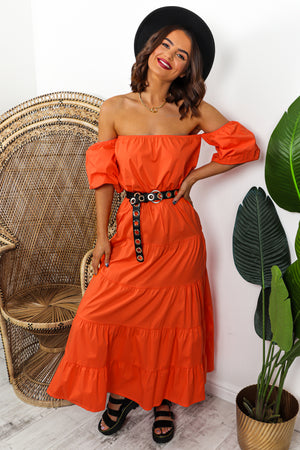 Orange Tiered Maxi Dress DLSB Womens Fashion