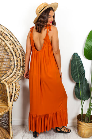 Orange Tie Strap Frill Hem Maxi Dress DLSB Womens Fashion