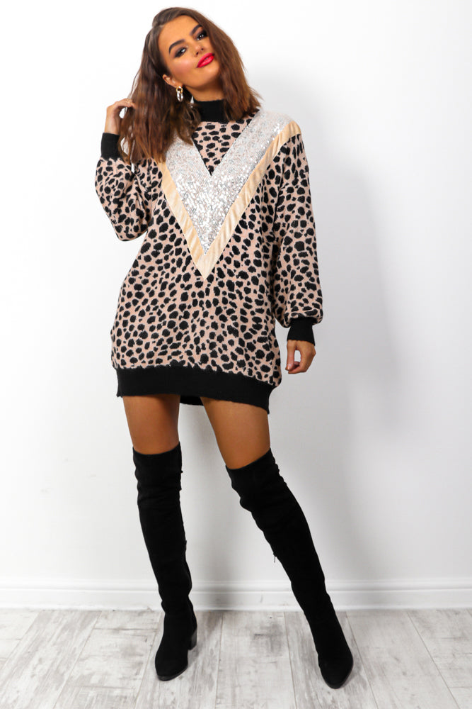 Out In The Wild - Blush Animal Print Knitted Jumper