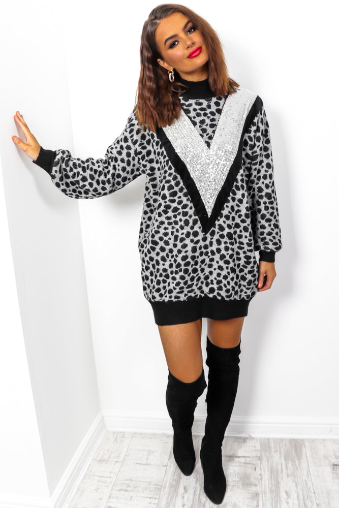 Out In The Wild - Grey Animal Print Knitted Jumper